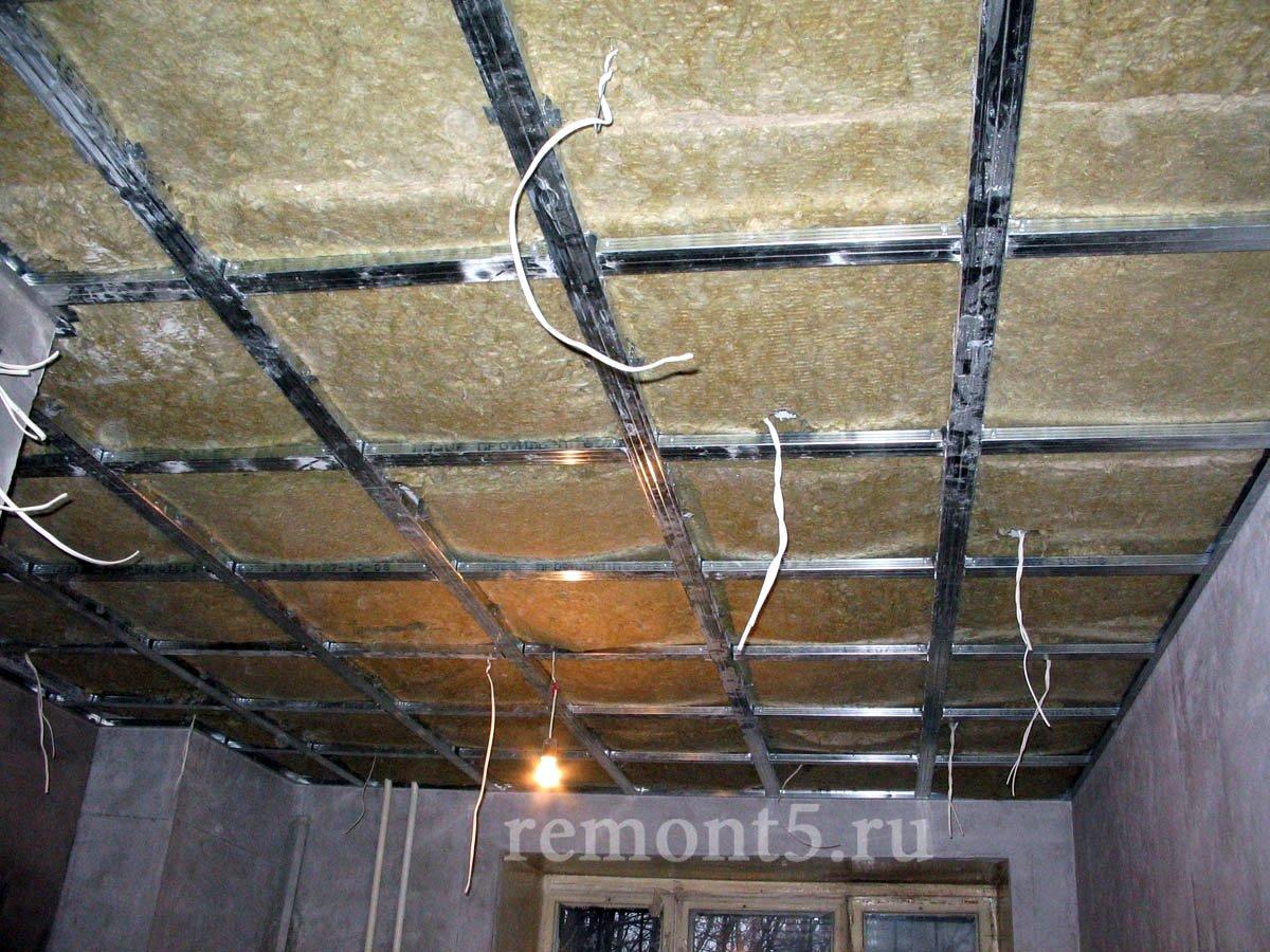 конструкция потолка из гипсокартона.