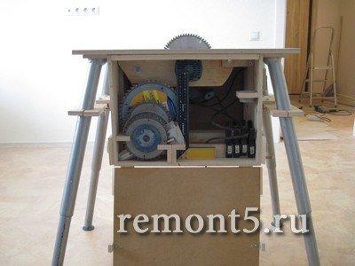 Самодельный распиловочный станок с ящиком для инструмента